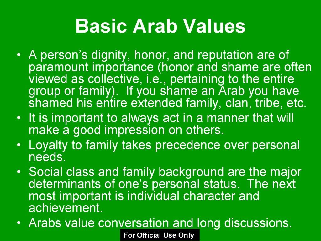 arab values