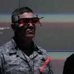Brig. Gen. Robert Brooks, director of the Massachusetts Air National Guard gets a eyes-on 3D tutorial of how to analyze data in the Virtual Reality Center at the University of Arkansas at Little Rock, May 2, 2014.  Senior leaders from the National Guard toured the University's Emerging Analytics Center and learned about the partnership to allow students at the National Guard Professional Education Center an opportunity to earn their bachelor's, master's or post-doctoral degrees in information technology.