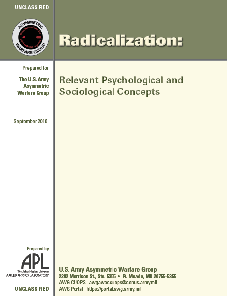 Asymmetric Warfare Group Report: Psychological and Sociological Concepts of Radicalization