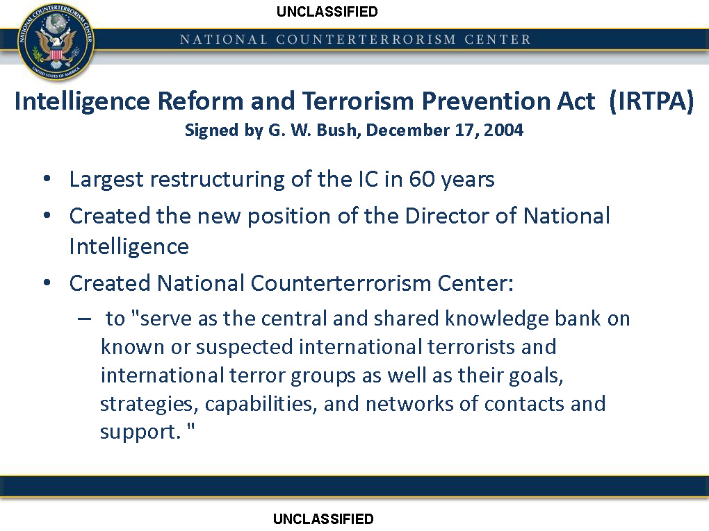 Image result for Intelligence Reform and Terrorism Prevention Act