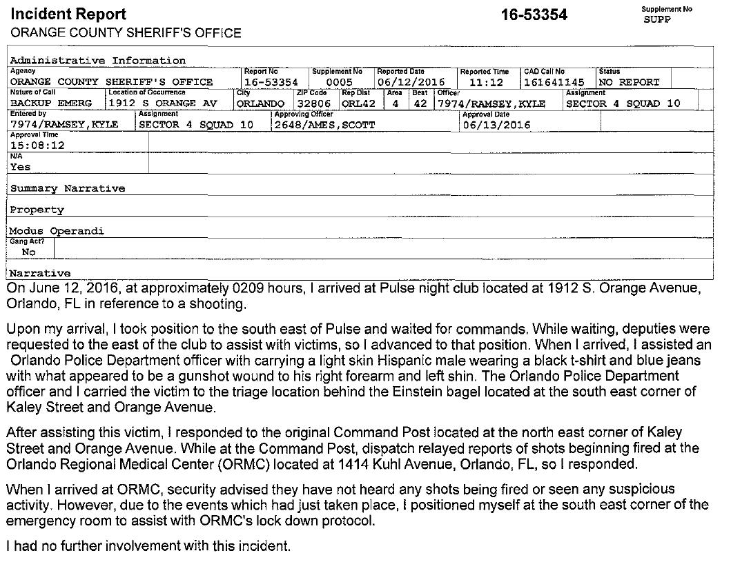 orange county sheriff office orlando nightclub shooting incident reports